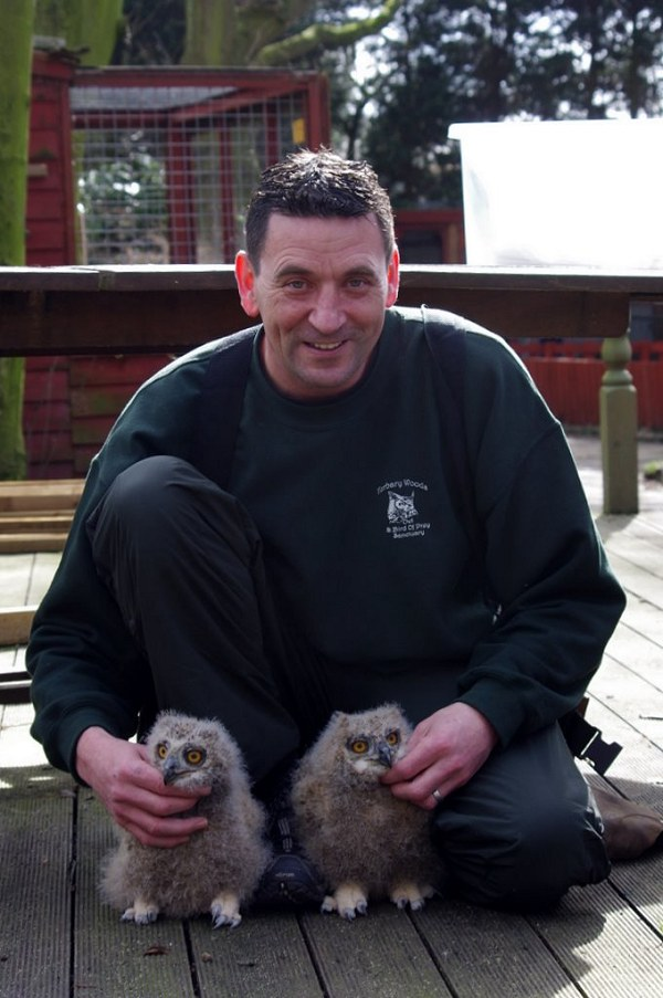 Andy with Baby Owls by Danny Weiss
