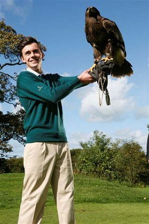 UCLAN Fashion student with Stella the Steppe Eagle from Turbary Woods.
