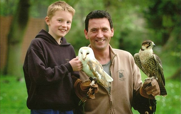 Andy and Mike with a Barn Owl and Gyr Saker Falcon